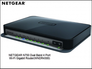 NETGEAR N750 Dual Band 4 Port Wi-Fi Gigabit Router(WNDR4300)
